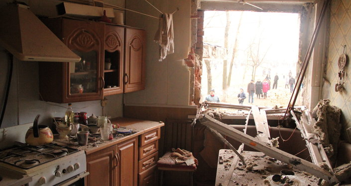 An apartment in the residential building on Bessonova Street, destroyed in the Ukrainian army's shelling of the town of Horlivka