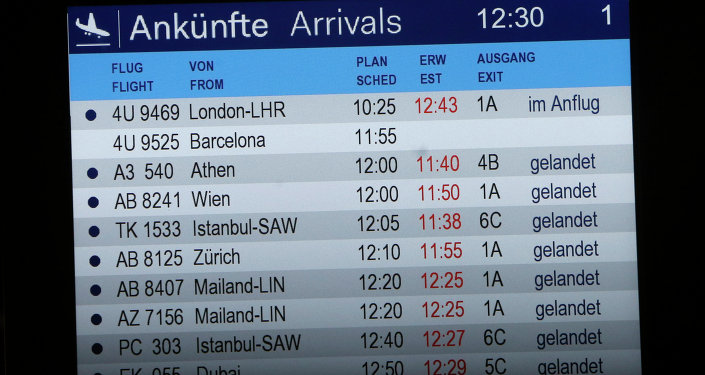 The arrivals board shows flight 4U 9525 without a status at the airport in Duesseldorf, Germany, Tuesday, March 24, 2015