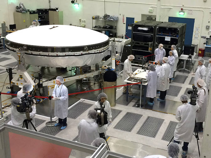 Members of the media got an up-close look at LDSD flight-test vehicles currently in preparation in the clean room at NASA-JPL on March 31.