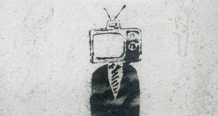 TV Man in the Autumn - Stencil