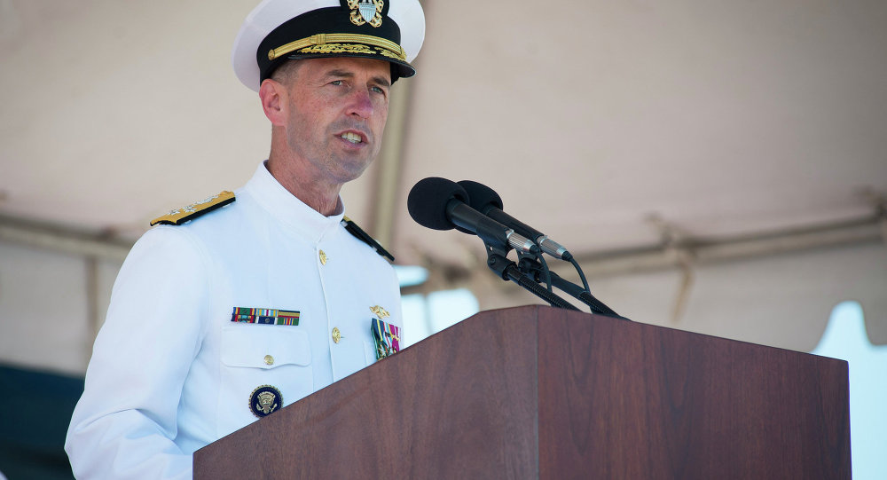 Adm. John Richardson delivers remarks during the commissioning ceremony of the Virginia-class attack submarine USS John Warner (SSN 785) at Naval Station Norfolk.