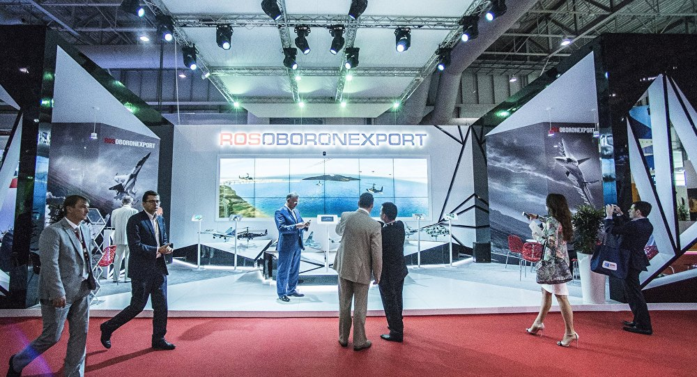 Rosoboronexport stand at the 2015 Dubai Airshow international exhibition