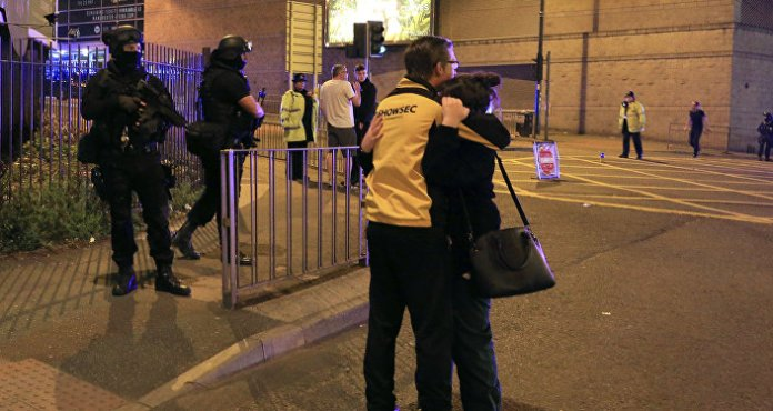 Scenes outside of the Manchester Arena after reports of an explosion during an Ariana Grande concert in Manchester, England Monday, May 22, 2017.