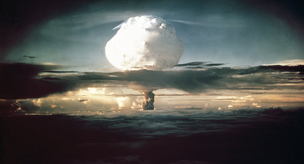 The mushroom cloud from Ivy Mike (codename given to the test) rises above the Pacific Ocean over the Enewetak Atoll in the Marshall Islands on November 1, 1952 at 7:15 am (local time)