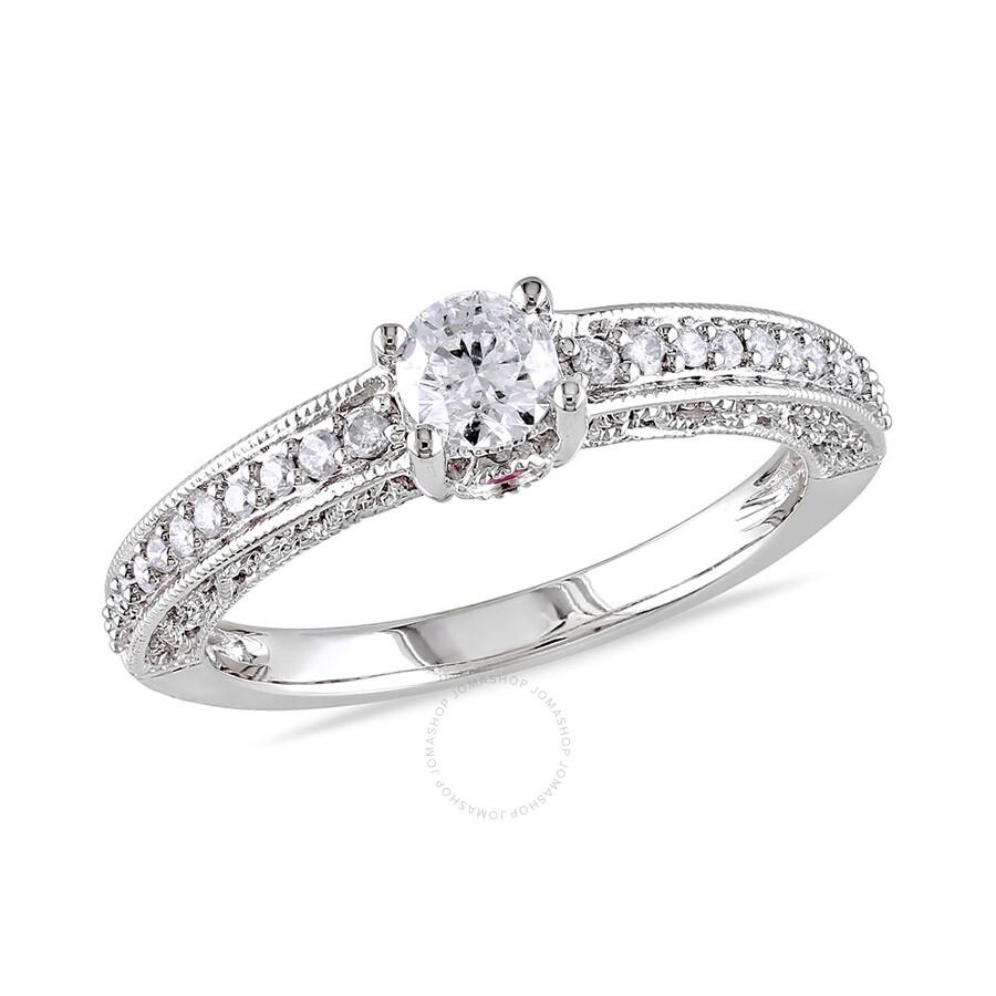 1/2 CT Diamond TW And 0.06 CT TGW Pink Sapphire Fashion