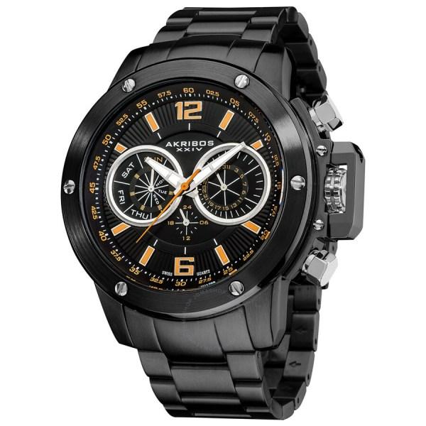 Akribos Xxiv Conqueror Multi-function Steel Swiss Quartz Bracelet Men' Watch Ak604bk