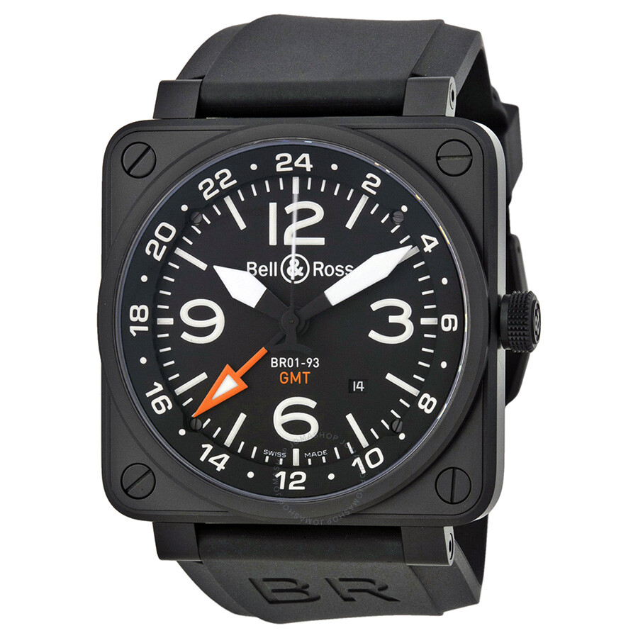 Bell And Ross Aviation Gmt Automatic Black Dial 46mm Men's