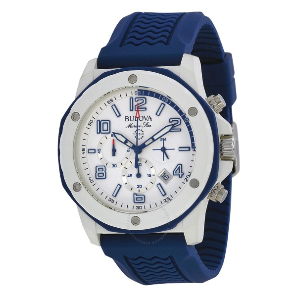 Bulova Marine Star Chronograph White Dial Blue Rubber Men