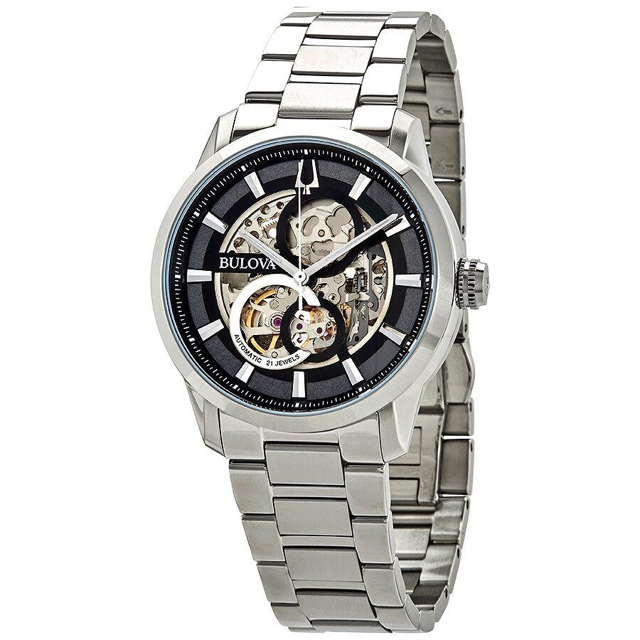 Bulova Sutton Automatic Skeleton Dial Men's Watch 96A208 - Classic - Bulova - Watches - Jomashop