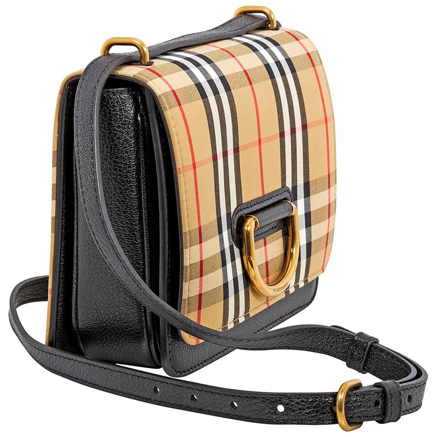 Burberry Small Vintage Check D-Ring Crossbody Bag- Black/Antique Yellow - Burberry - Handbags - Jomashop