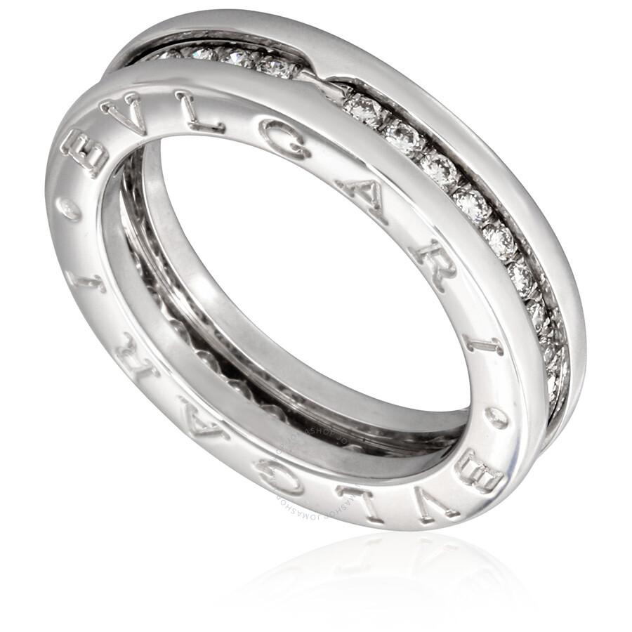 Bvlgari Bzero1 18k White Gold 1 Band Diamond Pave Ring Size 775