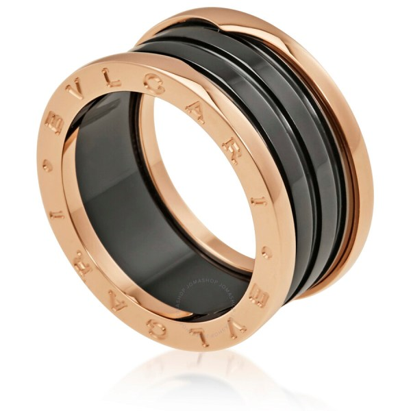 Bvlgari .zero1 4 Band 18k Pink Gold Black Ceramic Ring