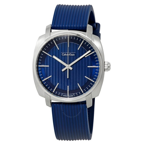Calvin Klein Highline Blue Dial Rubber Men' Watch