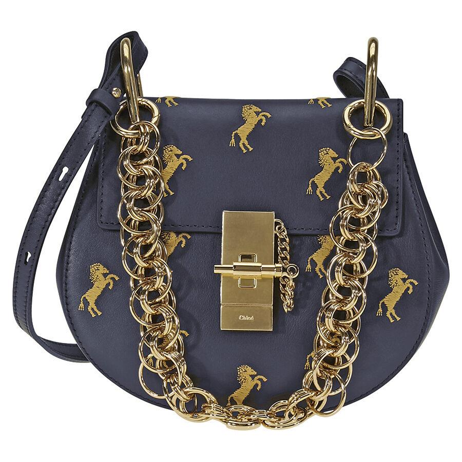 Chloe Drew Bijou Embroidered Horse Shoulder Bag- Full Blue CHC18AS107A34 4D4 - Handbags. Chloe - Jomashop