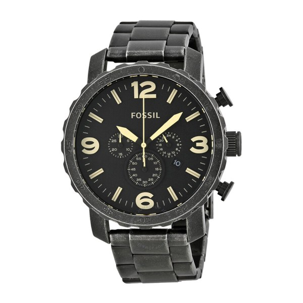 Fossil Nate Chronograph Burnished Stainless Steel Men' Watch Jr1388 - Watches