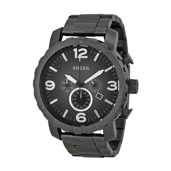 Men's Fossil Nate Chronograph Stainless Steel Watch Smoke