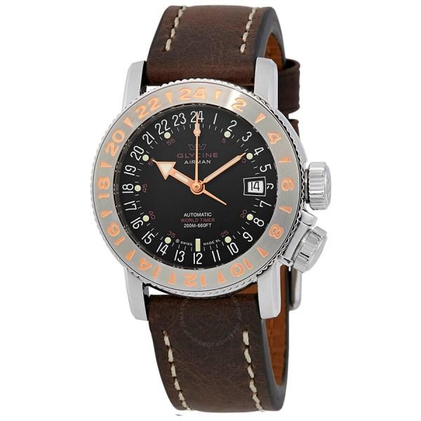 Glycine Airman 18 Automatic Black Dial Men' Watch 3918