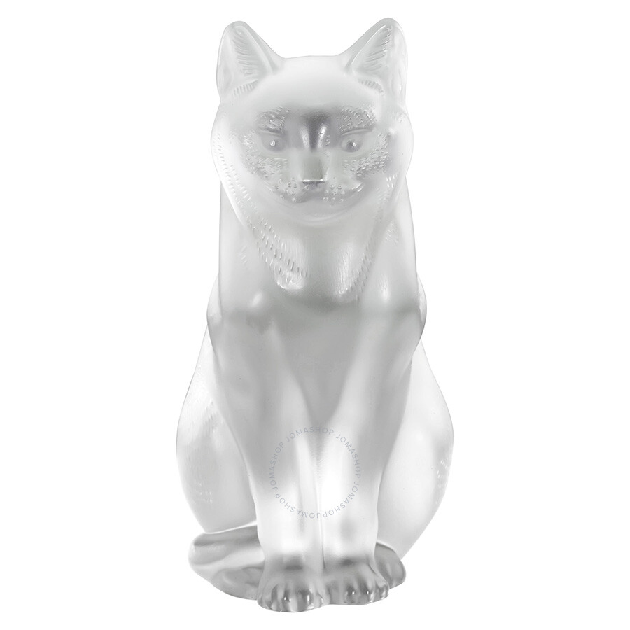 lalique crystal cat sitting