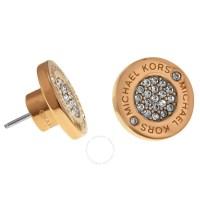 Michael Kors Logo Crystal Rose Gold-Tone Stud Earrings ...