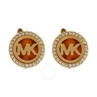 Michael Kors Logo Gold-Tone Stud Clip On Earrings ...