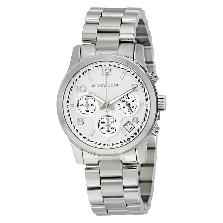 Michael Kors Silver Midsized Chronograph Ladies Watch MK5076 - Runway - Michael Kors - Watches - Jomashop
