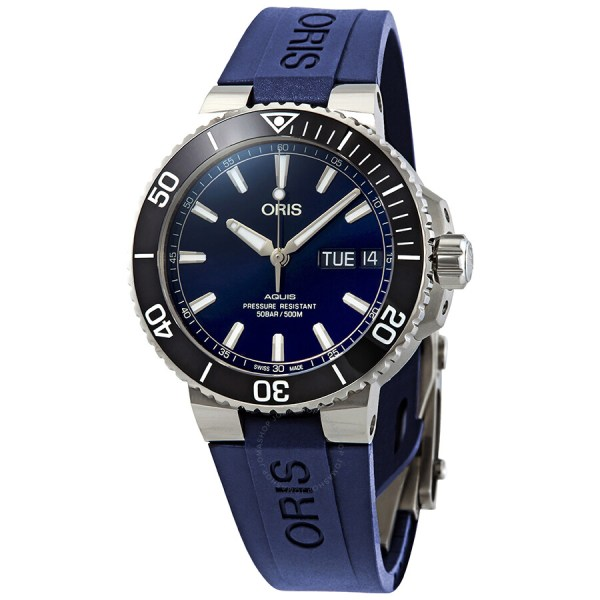 Oris Aquis Big Day Date Automatic Men' Blue Rubber Watch