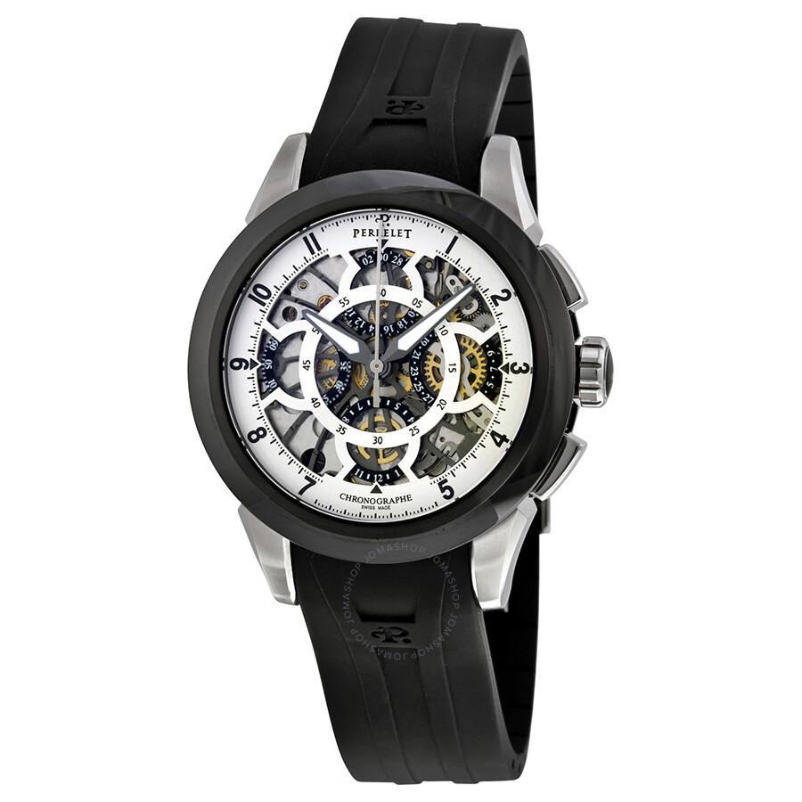 Perrelet Skeleton Chronograph Automatic White Skeleton Dial Black Rubber Men's Watch A1056-1 - Perrelet - Watches - Jomashop