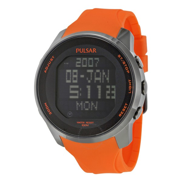 Pulsar World Time Digital Chronograph Black Dial Orange Rubber Men' Watch Pq2013
