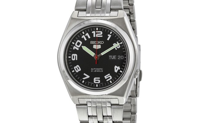 Seiko 5 Automatic Black Dial Stainless Steel Men S Watch
