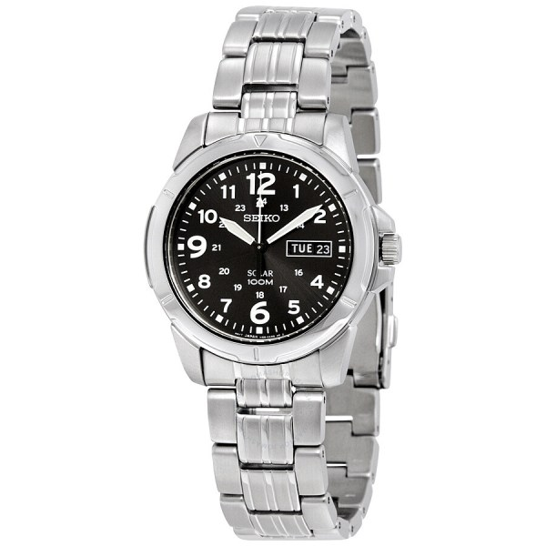 Seiko Black Solar Power Dial Men' Watch Sne095