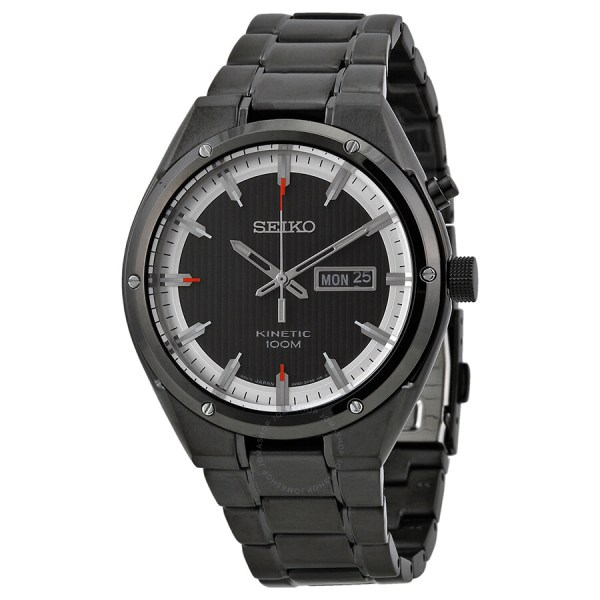 Seiko Kinetic Black And White Dial Ion-plated Men'