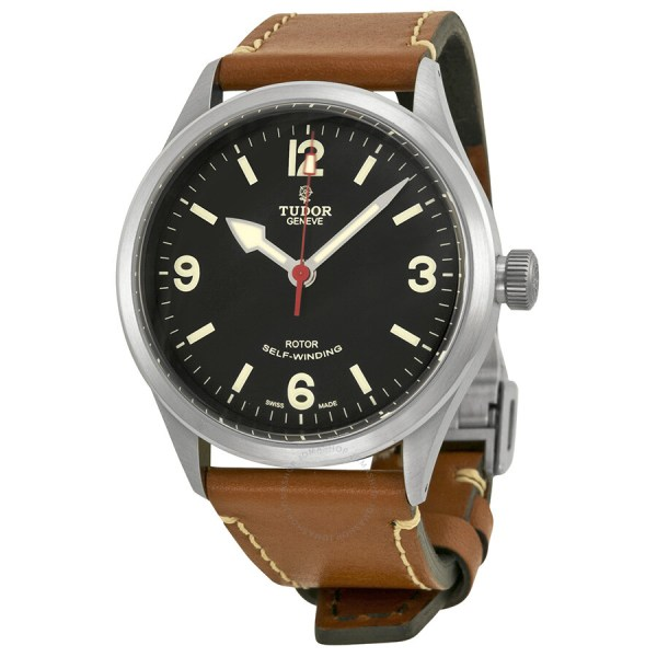 Tudor Heritage Ranger Automatic Black Dial Brown Leather ...