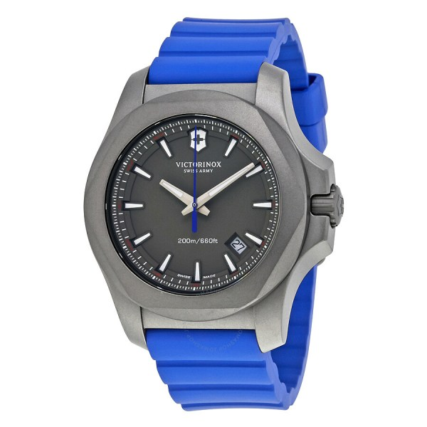 Victorinox .x. Grey Dial Men' Blue Rubber Watch