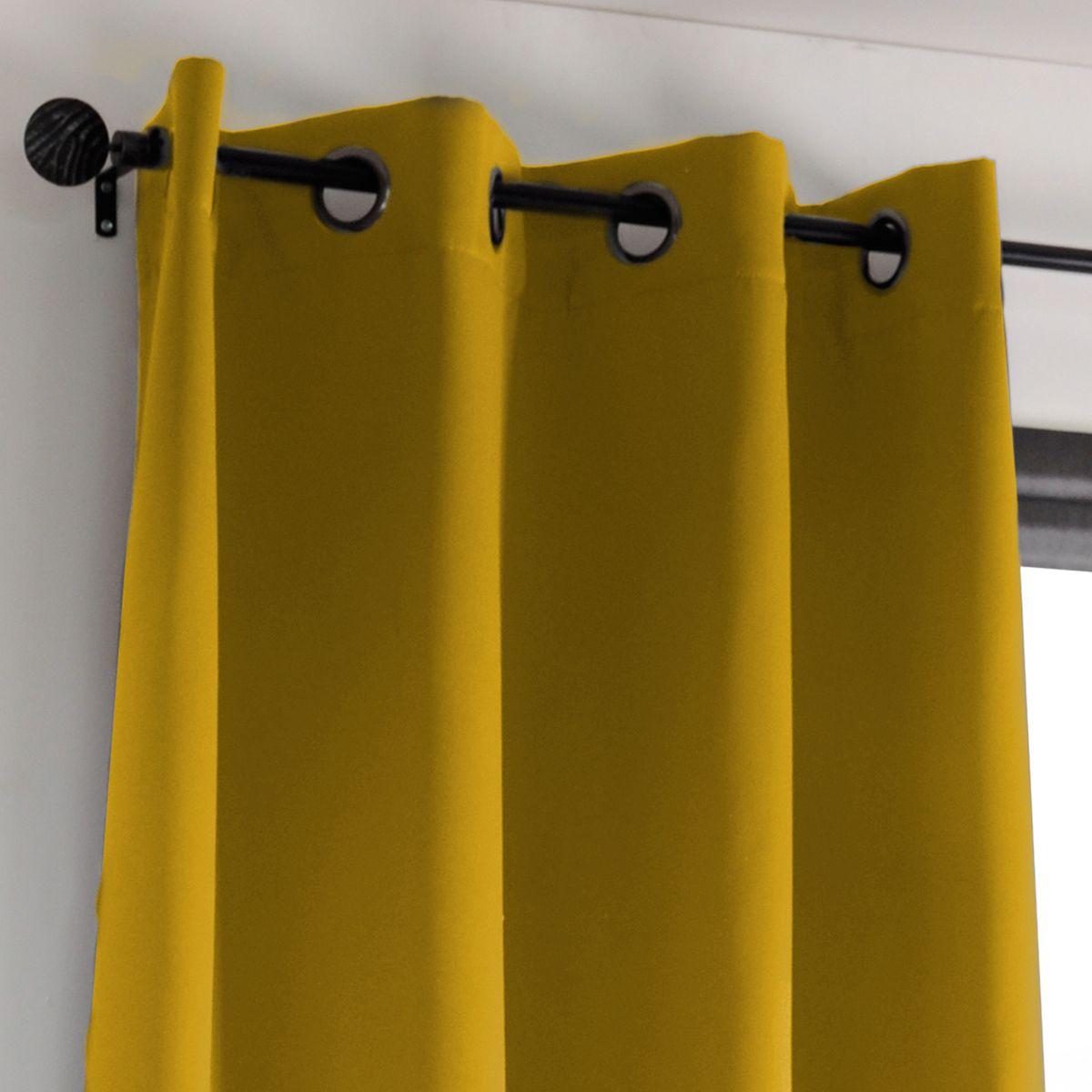 rideau occultant jaune moutarde leridad 135x250 cm