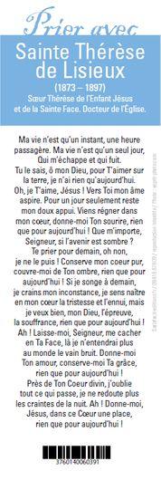 Sainte Thérèse De Lisieux Prière : sainte, thérèse, lisieux, prière, Signet,