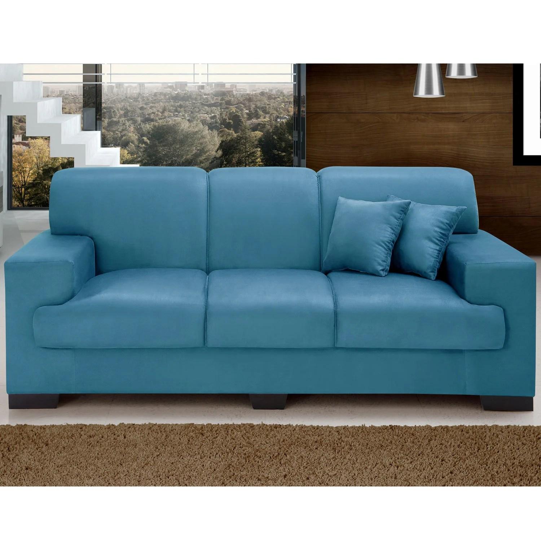 sofa usado no mercado livre living room design ideas with brown leather sofá 3 lugares manuela império estofados azul r 599 90