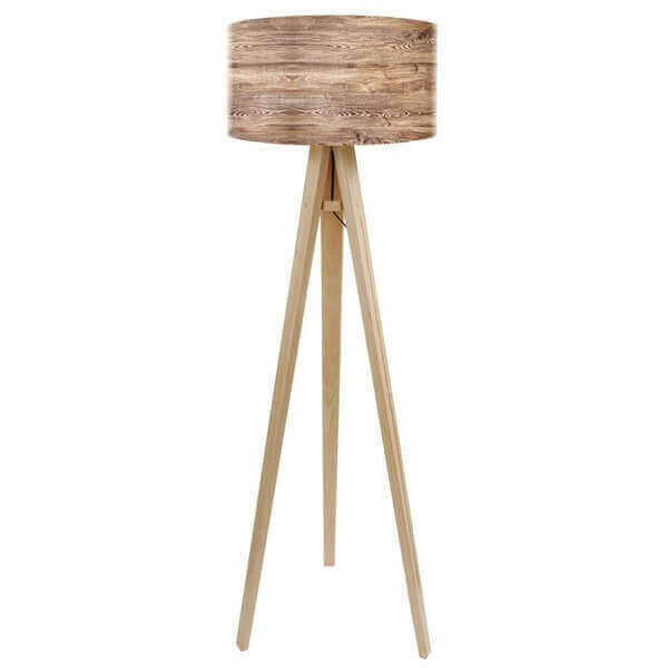 Natural wood floor lamp