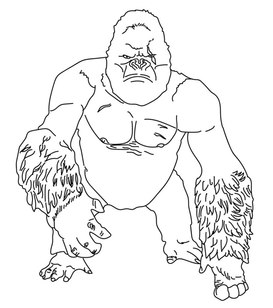 10 Cute Free Printable Gorilla Coloring Pages Online