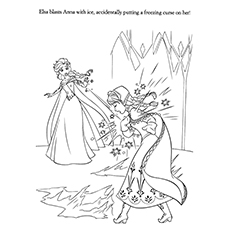 Frozen Elsa Accidentally By Freezing Curse On Anna Again Coloring Pages