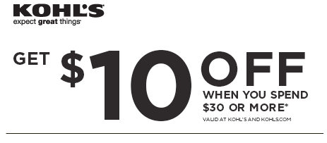 Mommytasking: Take $10 off $30 at Kohl's starting today