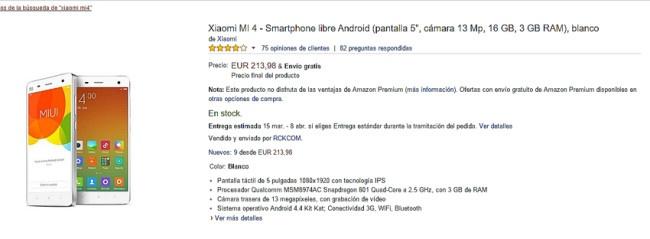 Oferta del Xiaomi Mi4 en Amazon