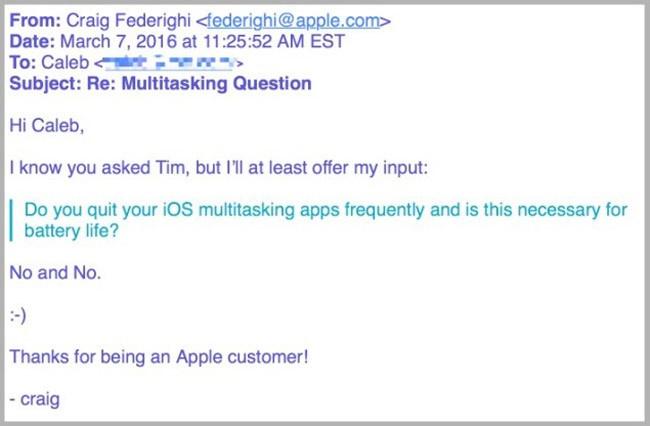Respuesta de Craig Fderighi de Apple