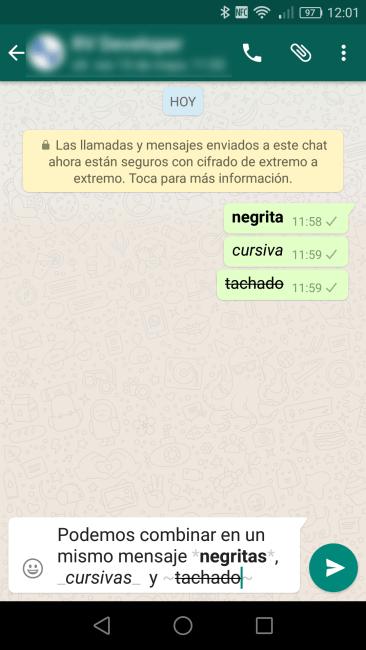 Formato texto WhatsApp