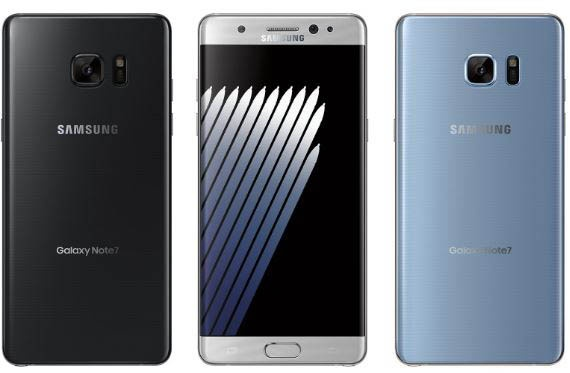 Samsung Galaxy Note 7 en diferentes colores
