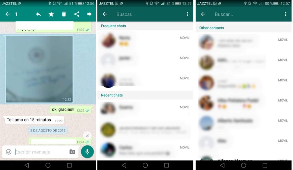 pantallas whatsapp chats frecuentes