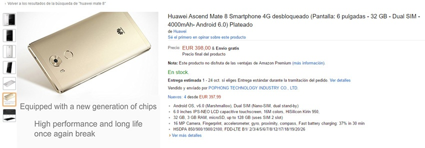 Huawei Mate 8 en Amazon