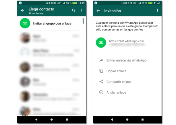 pantallas enlaces grupos whatsapp