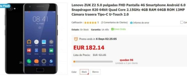 Móviles en el Black Friday Zuk Z2