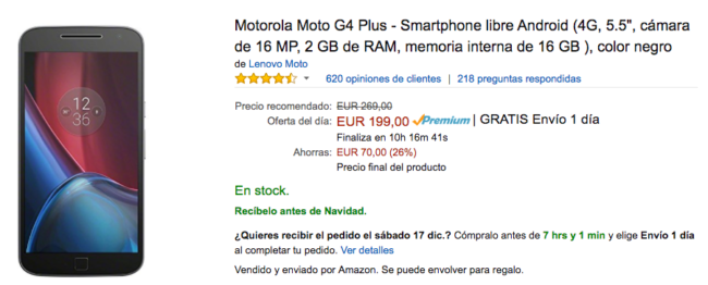 precio moto g4 amazon