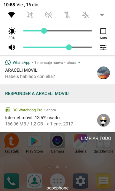 LG G5 con Android 7 Nougat notificaciones